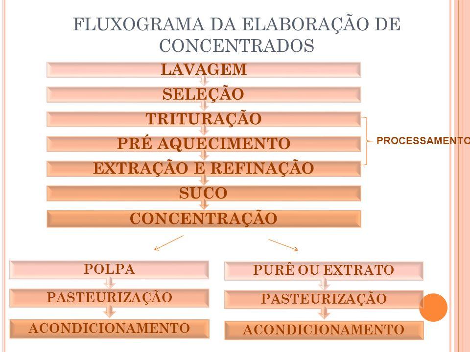 FLUXOGRAMA DA ELABORAÇÃO DE CONCENTRADOS CONCENTRAÇÃO SUCO EXTRAÇÃO E REFINAÇÃO PRÉ AQUECIMENTO TRITURAÇÃO SELEÇÃO LAVAGEM PROCESSAMENTO ACONDICIONAMENTO PASTEURIZAÇÃO POLPA ACONDICIONAMENTO PASTEURIZAÇÃO PURÊ OU EXTRATO