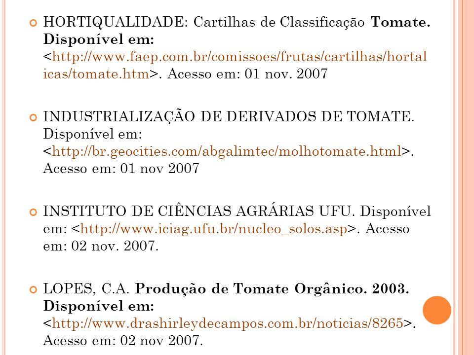 HORTIQUALIDADE: Cartilhas de Classificação Tomate.