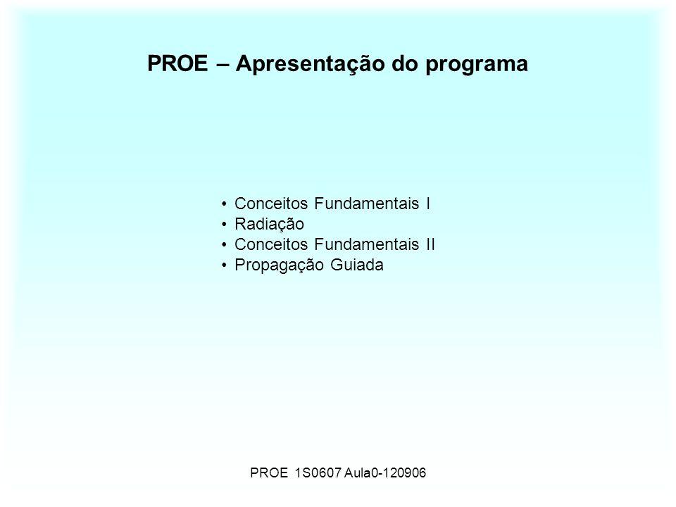PROE 1S0607 Aula0-120906 PROE – Apresentação do programa Conceitos Fundamentais I Radiação Conceitos Fundamentais II Propagação Guiada