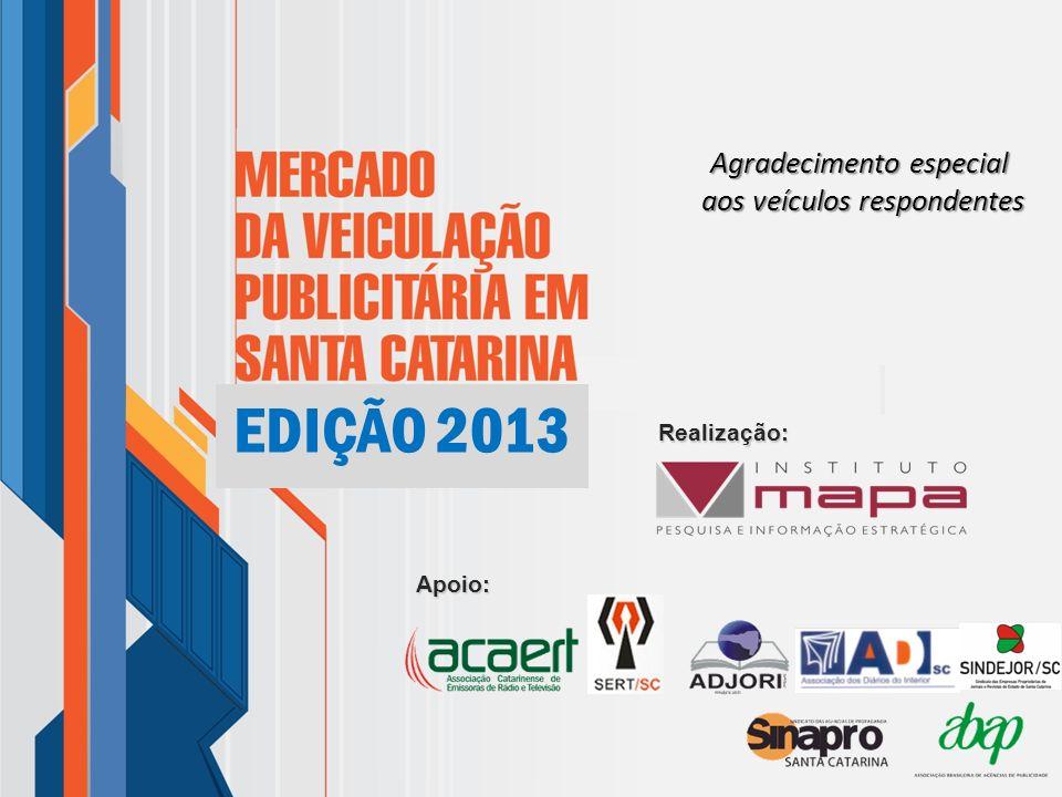 Agradecimento especial aos veículos respondentes Realização: Apoio: 2013 EDIÇÃO 2013