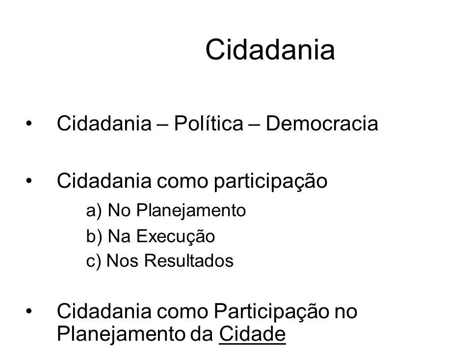 Cidadania Cidadania – Política – Democracia Cidadania como participação a) No Planejamento b) Na Execução c) Nos Resultados Cidadania como Participação no Planejamento da Cidade