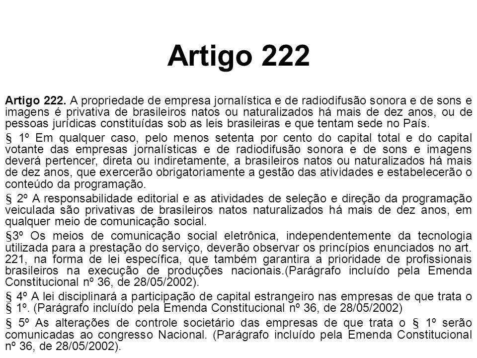 Artigo 222 Artigo 222. A propriedade de empresa jornalística e de radiodifusão sonora e de sons e imagens é privativa de brasileiros natos ou naturali
