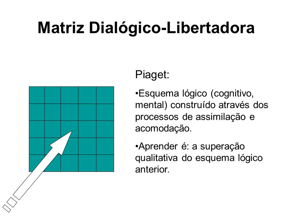 Matriz Dialógico-Libertadora Piaget: Esquema lógico (cognitivo, mental) construído através dos processos de assimilação e acomodação. Aprender é: a su