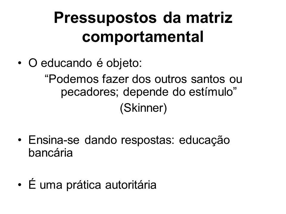 Pressupostos da matriz comportamental O educando é objeto: Podemos fazer dos outros santos ou pecadores; depende do estímulo (Skinner) Ensina-se dando respostas: educação bancária É uma prática autoritária