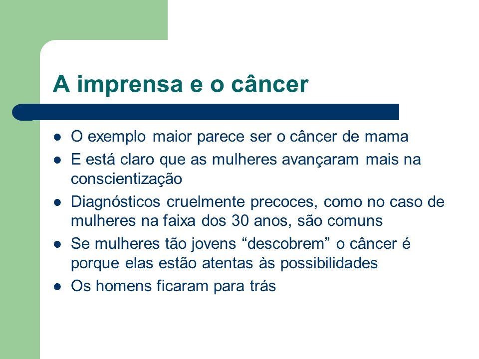 A imprensa e o câncer O exemplo maior parece ser o câncer de mama E está claro que as mulheres avançaram mais na conscientização Diagnósticos cruelmen