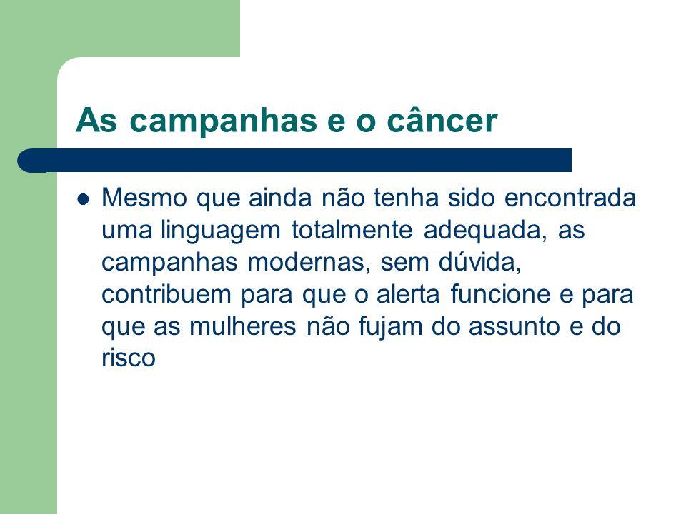 As campanhas e o câncer Mesmo que ainda não tenha sido encontrada uma linguagem totalmente adequada, as campanhas modernas, sem dúvida, contribuem par