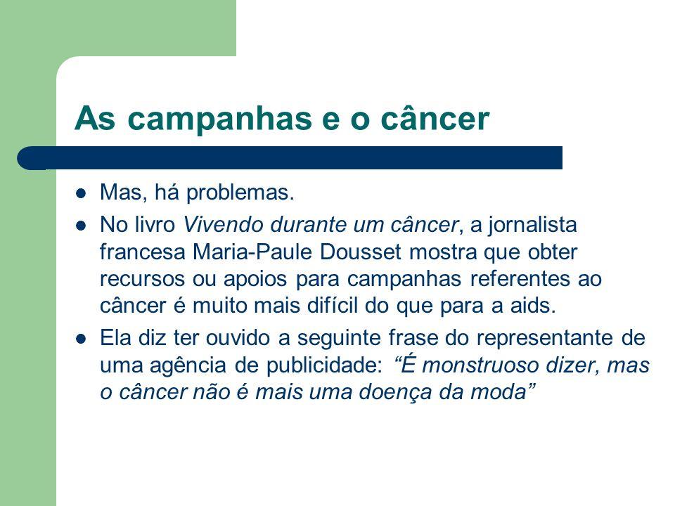 As campanhas e o câncer Mas, há problemas. No livro Vivendo durante um câncer, a jornalista francesa Maria-Paule Dousset mostra que obter recursos ou