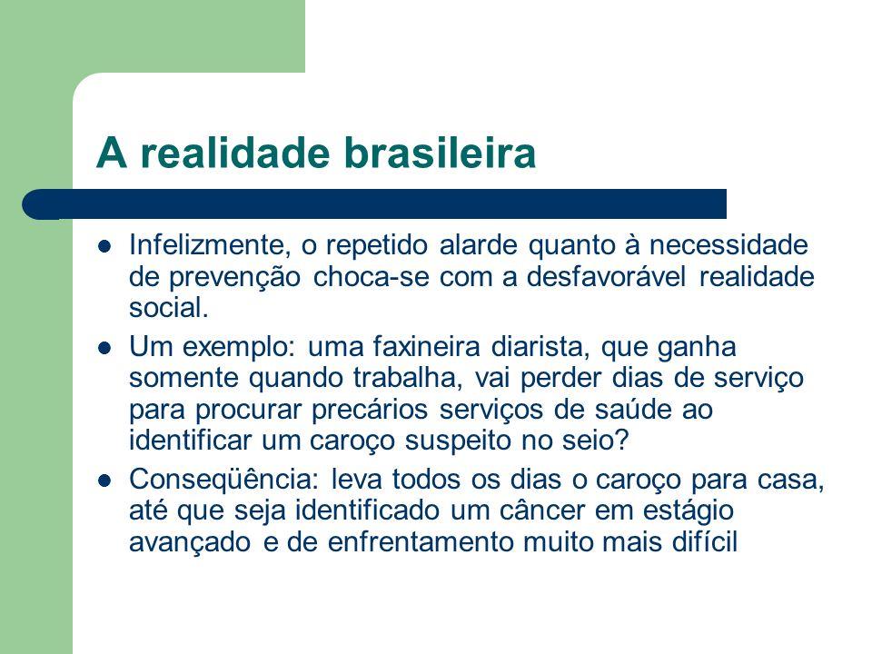 A realidade brasileira Infelizmente, o repetido alarde quanto à necessidade de prevenção choca-se com a desfavorável realidade social. Um exemplo: uma
