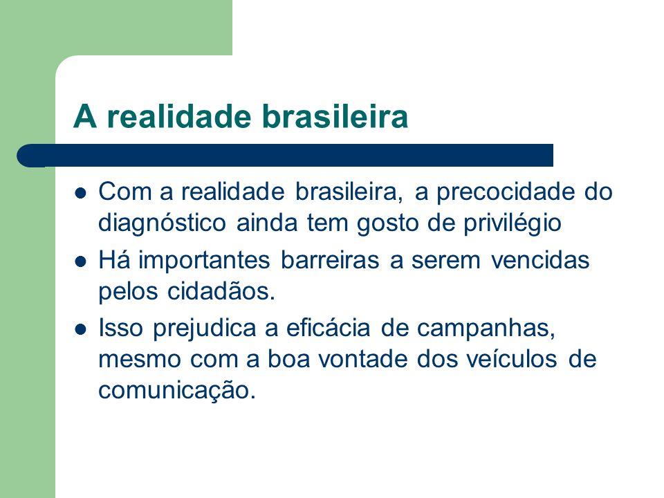 A realidade brasileira Com a realidade brasileira, a precocidade do diagnóstico ainda tem gosto de privilégio Há importantes barreiras a serem vencida