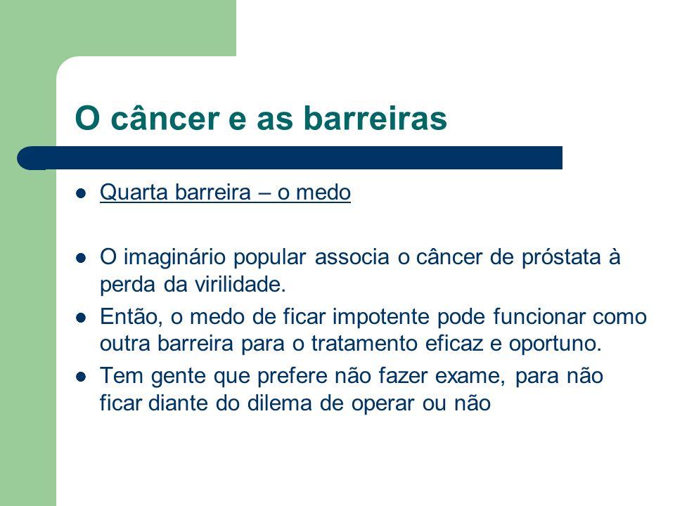 O câncer e as barreiras Quarta barreira – o medo O imaginário popular associa o câncer de próstata à perda da virilidade. Então, o medo de ficar impot