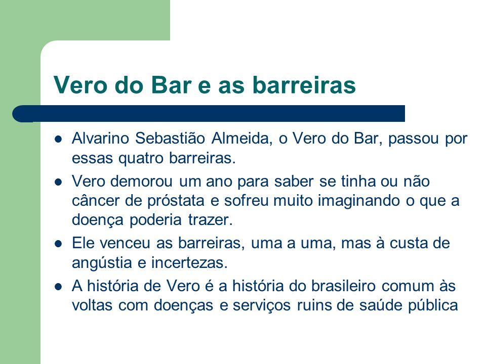 Vero do Bar e as barreiras Alvarino Sebastião Almeida, o Vero do Bar, passou por essas quatro barreiras. Vero demorou um ano para saber se tinha ou nã
