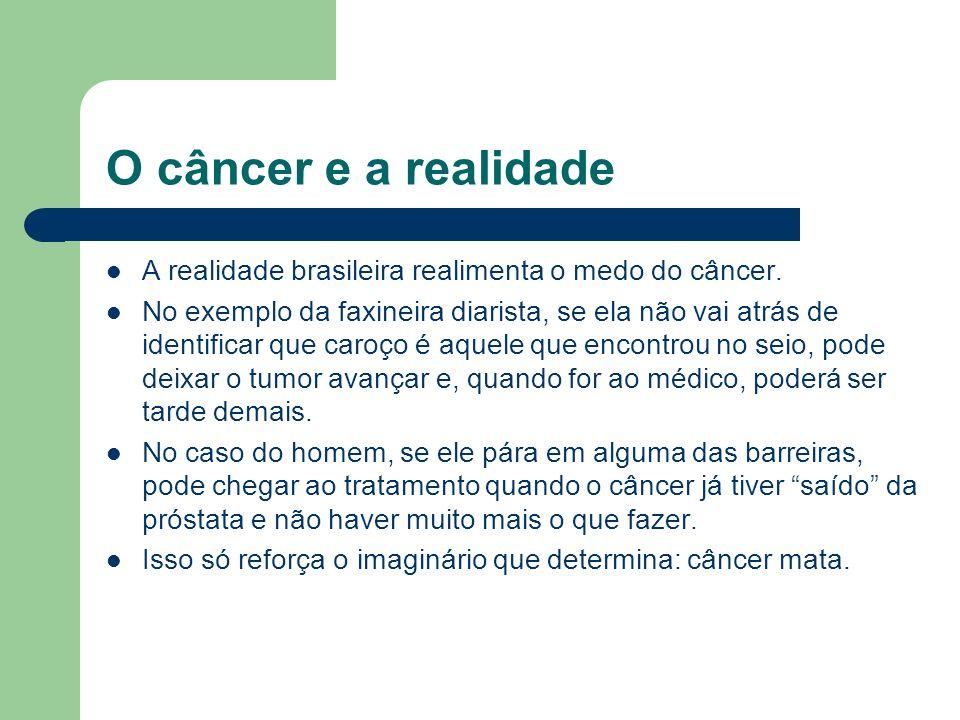 O câncer e a realidade A realidade brasileira realimenta o medo do câncer. No exemplo da faxineira diarista, se ela não vai atrás de identificar que c