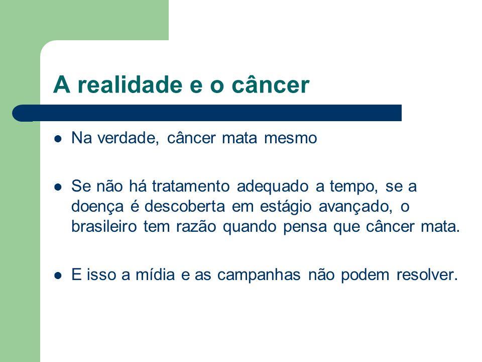 A realidade e o câncer Na verdade, câncer mata mesmo Se não há tratamento adequado a tempo, se a doença é descoberta em estágio avançado, o brasileiro
