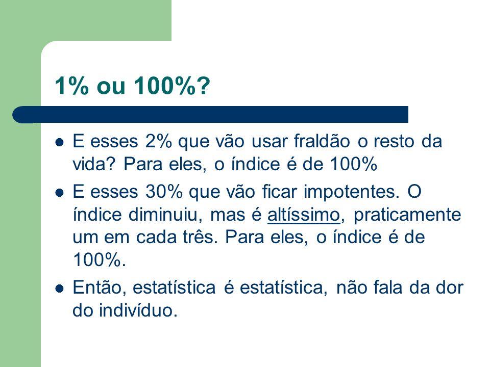1% ou 100%? E esses 2% que vão usar fraldão o resto da vida? Para eles, o índice é de 100% E esses 30% que vão ficar impotentes. O índice diminuiu, ma