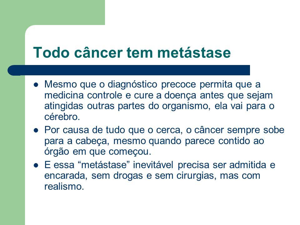 Todo câncer tem metástase Mesmo que o diagnóstico precoce permita que a medicina controle e cure a doença antes que sejam atingidas outras partes do o