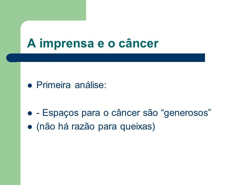 A imprensa e o câncer Primeira análise: - Espaços para o câncer são generosos (não há razão para queixas)