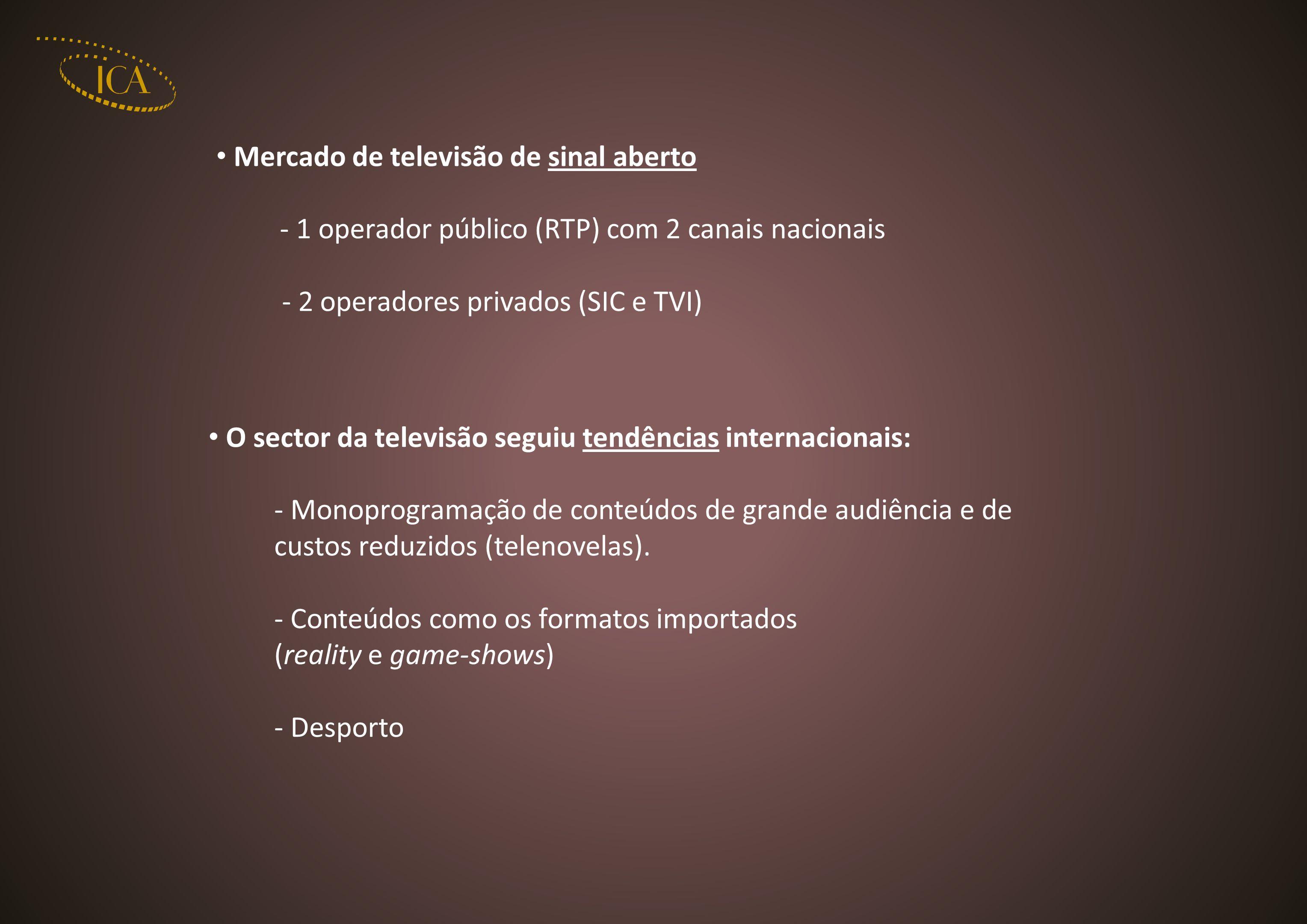 Mercado de televisão de sinal aberto - 1 operador público (RTP) com 2 canais nacionais - 2 operadores privados (SIC e TVI) O sector da televisão segui