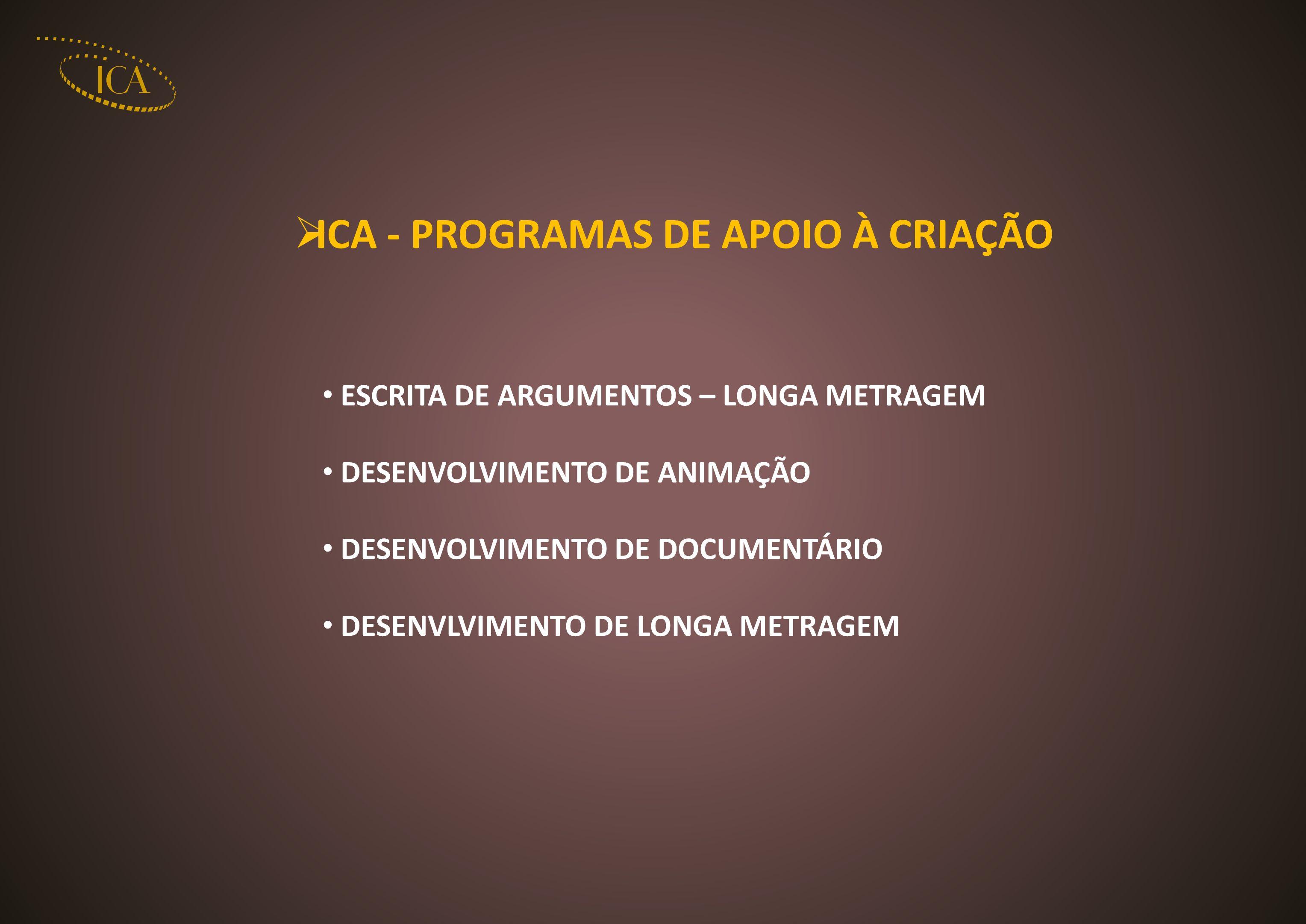ICA - PROGRAMAS DE APOIO À CRIAÇÃO ESCRITA DE ARGUMENTOS – LONGA METRAGEM DESENVOLVIMENTO DE ANIMAÇÃO DESENVOLVIMENTO DE DOCUMENTÁRIO DESENVLVIMENTO D