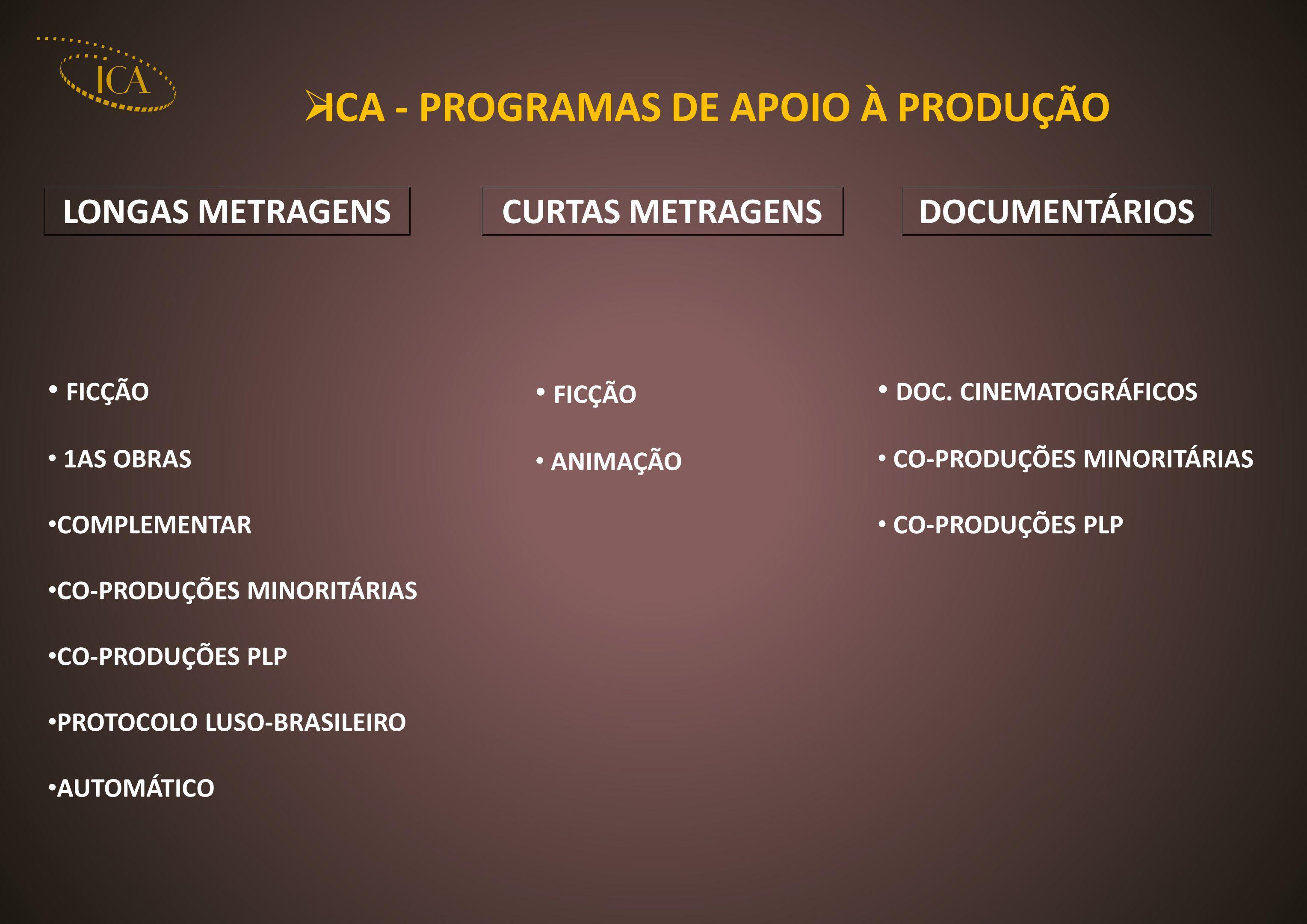 ICA - PROGRAMAS DE APOIO À PRODUÇÃO LONGAS METRAGENSCURTAS METRAGENSDOCUMENTÁRIOS FICÇÃO 1AS OBRAS COMPLEMENTAR CO-PRODUÇÕES MINORITÁRIAS CO-PRODUÇÕES PLP PROTOCOLO LUSO-BRASILEIRO AUTOMÁTICO FICÇÃO ANIMAÇÃO DOC.