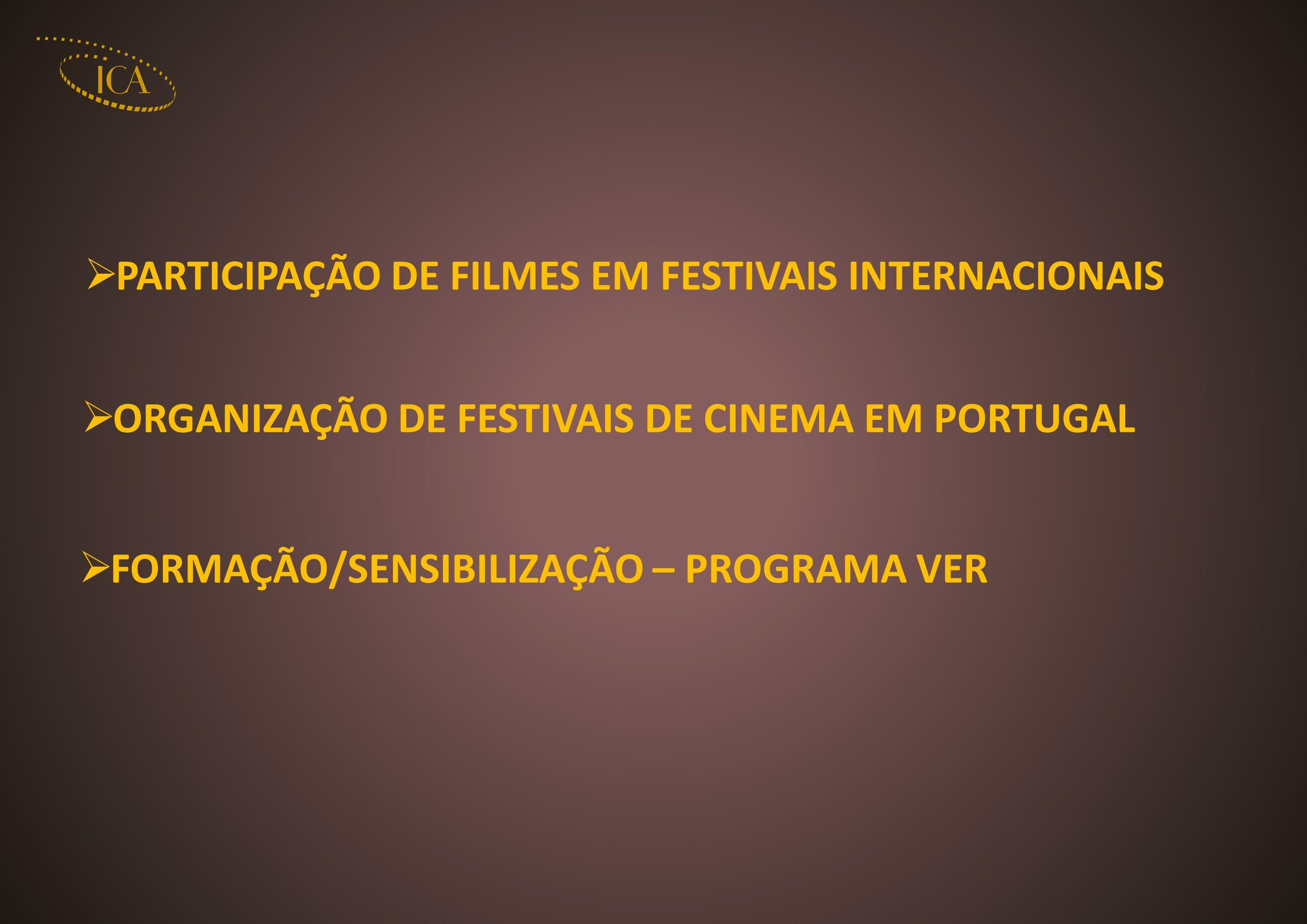 PARTICIPAÇÃO DE FILMES EM FESTIVAIS INTERNACIONAIS ORGANIZAÇÃO DE FESTIVAIS DE CINEMA EM PORTUGAL FORMAÇÃO/SENSIBILIZAÇÃO – PROGRAMA VER