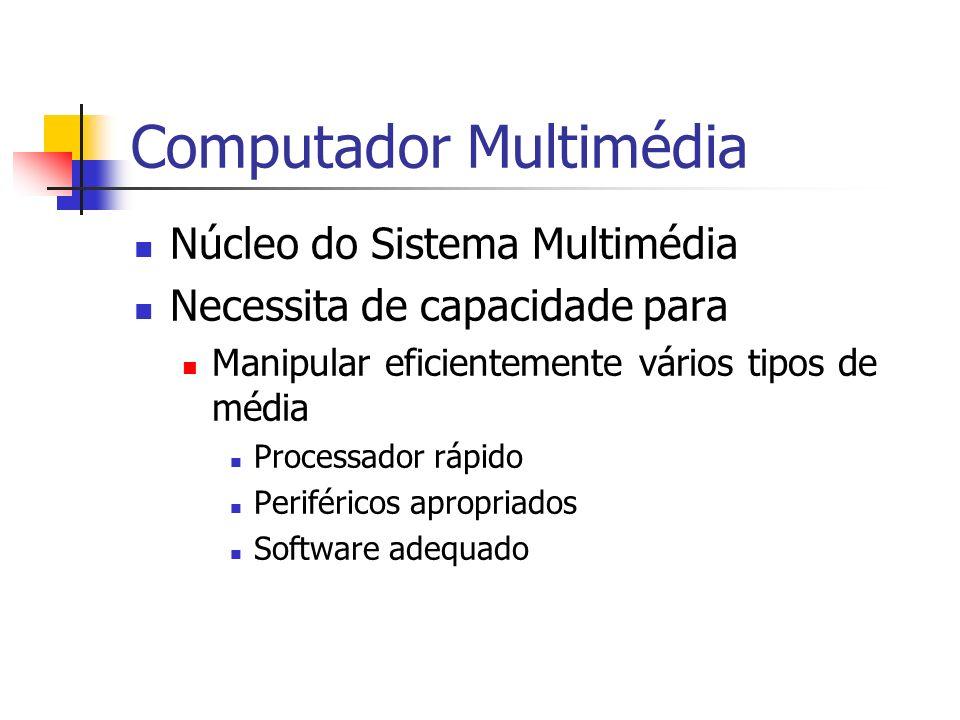 Computador Multimédia Núcleo do Sistema Multimédia Necessita de capacidade para Manipular eficientemente vários tipos de média Processador rápido Periféricos apropriados Software adequado