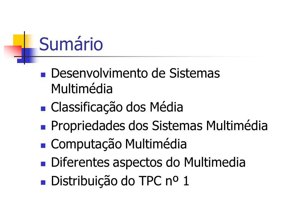 Sumário Desenvolvimento de Sistemas Multimédia Classificação dos Média Propriedades dos Sistemas Multimédia Computação Multimédia Diferentes aspectos do Multimedia Distribuição do TPC nº 1