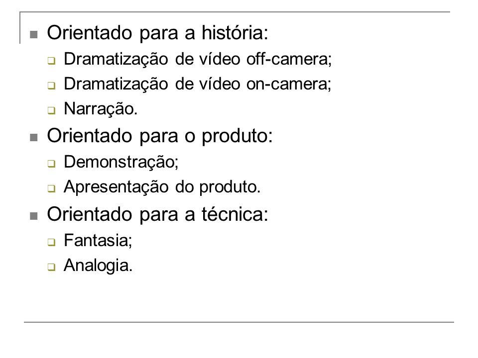 Orientado para a história: Dramatização de vídeo off-camera; Dramatização de vídeo on-camera; Narração.