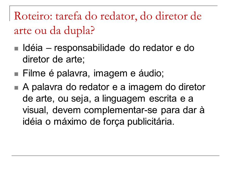Roteiro: tarefa do redator, do diretor de arte ou da dupla.