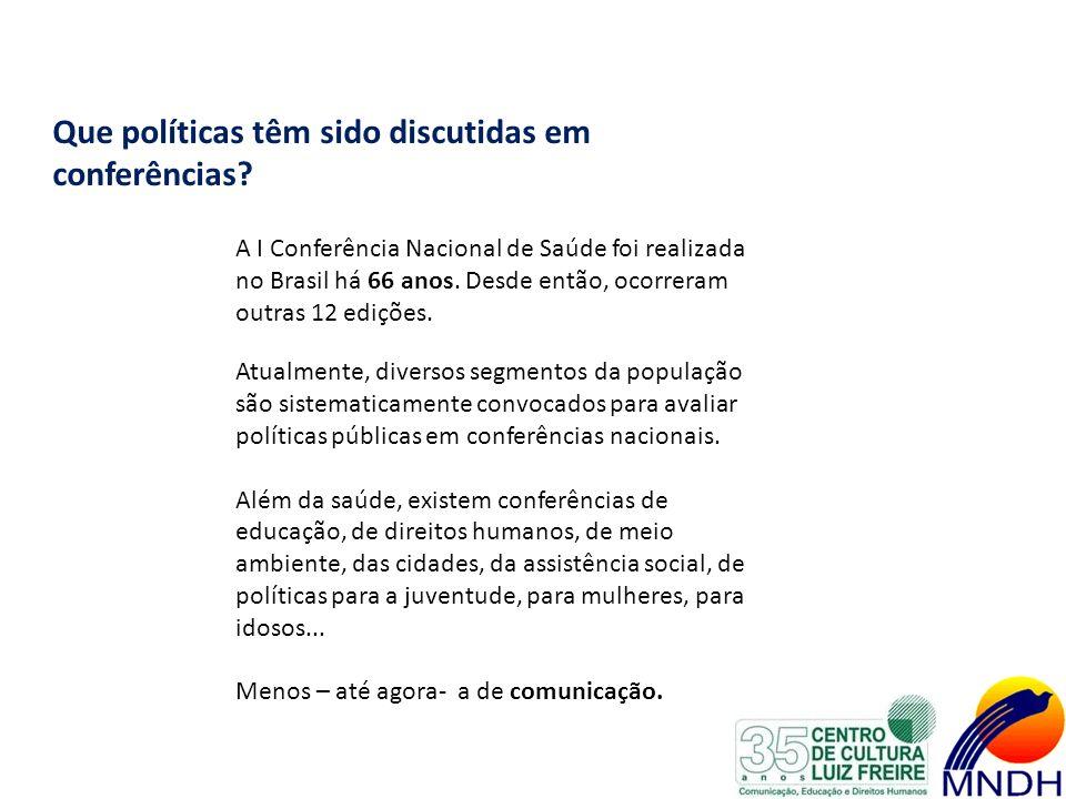 Que políticas têm sido discutidas em conferências? A I Conferência Nacional de Saúde foi realizada no Brasil há 66 anos. Desde então, ocorreram outras