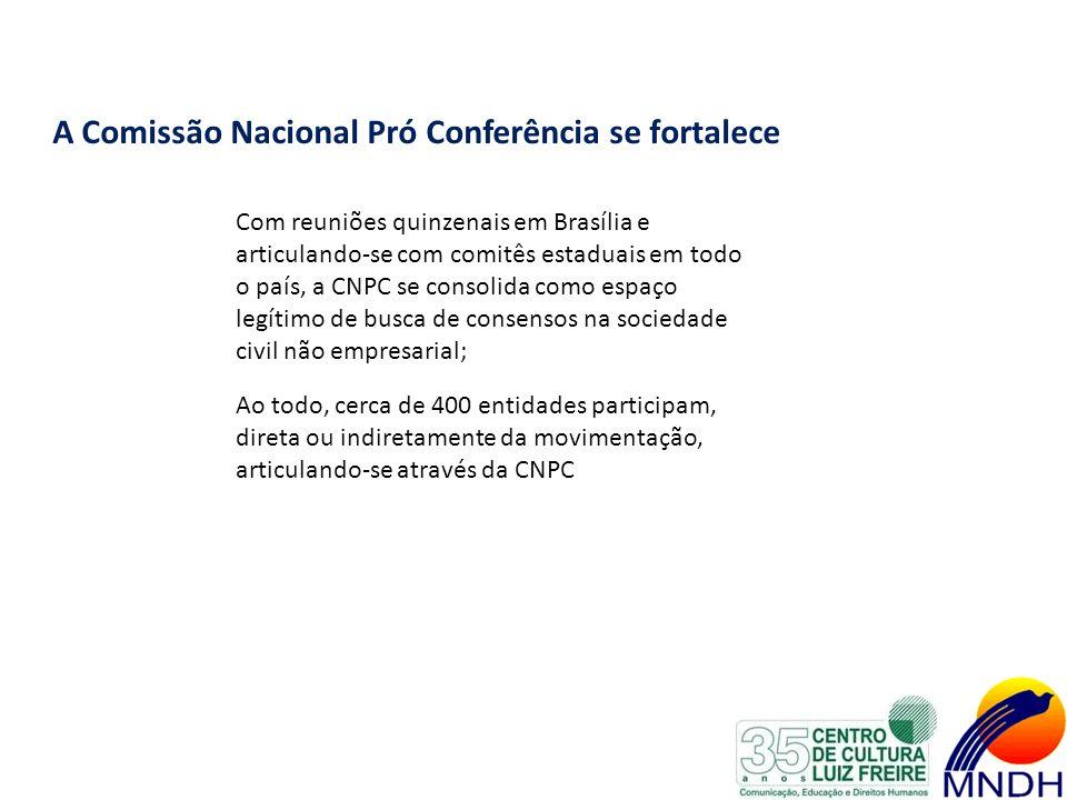 A Comissão Nacional Pró Conferência se fortalece Com reuniões quinzenais em Brasília e articulando-se com comitês estaduais em todo o país, a CNPC se