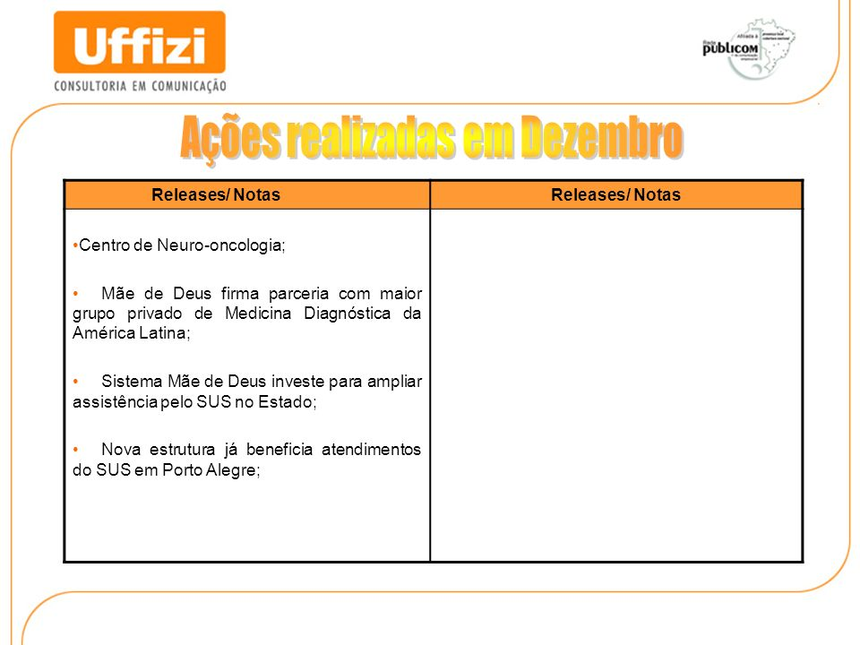 Releases/ Notas Centro de Neuro-oncologia; Mãe de Deus firma parceria com maior grupo privado de Medicina Diagnóstica da América Latina; Sistema Mãe d