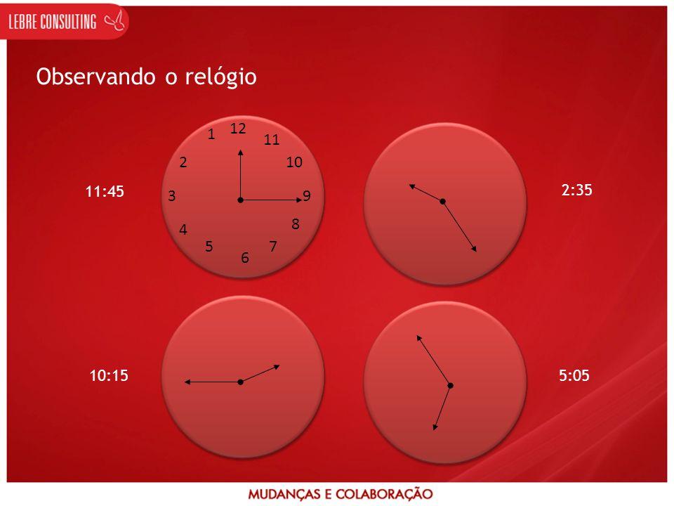 Observando o relógio 12 6 39 1 2 4 57 8 10 11 11:45 2:35 10:155:05