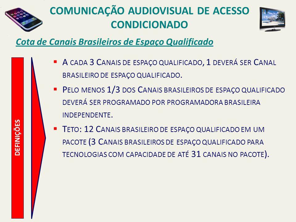 Cota de Canais Brasileiros de Espaço Qualificado COMUNICAÇÃO AUDIOVISUAL DE ACESSO CONDICIONADO DEFINIÇÕES A CADA 3 C ANAIS DE ESPAÇO QUALIFICADO, 1 DEVERÁ SER C ANAL BRASILEIRO DE ESPAÇO QUALIFICADO.