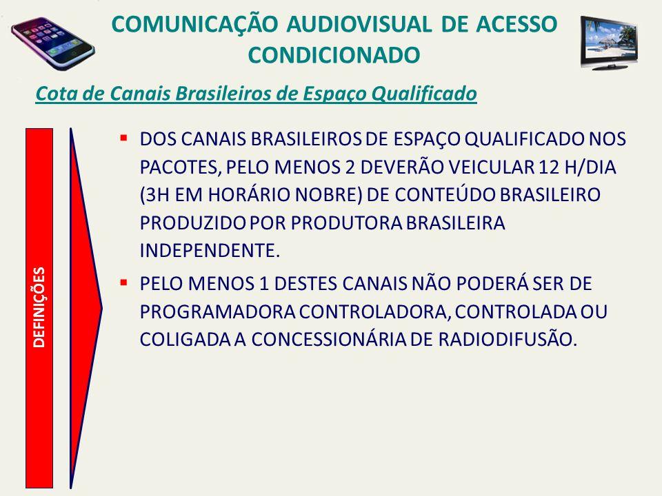 Cota de Canais Brasileiros de Espaço Qualificado COMUNICAÇÃO AUDIOVISUAL DE ACESSO CONDICIONADO DEFINIÇÕES DOS CANAIS BRASILEIROS DE ESPAÇO QUALIFICADO NOS PACOTES, PELO MENOS 2 DEVERÃO VEICULAR 12 H/DIA (3H EM HORÁRIO NOBRE) DE CONTEÚDO BRASILEIRO PRODUZIDO POR PRODUTORA BRASILEIRA INDEPENDENTE.