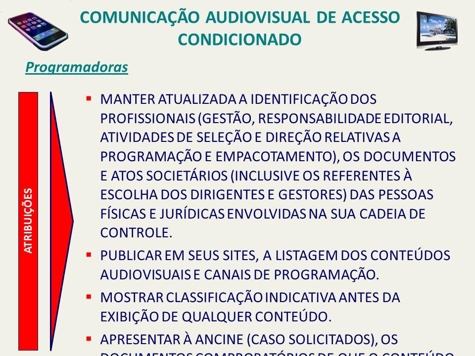 ATRIBUIÇÕES Programadoras MANTER ATUALIZADA A IDENTIFICAÇÃO DOS PROFISSIONAIS (GESTÃO, RESPONSABILIDADE EDITORIAL, ATIVIDADES DE SELEÇÃO E DIREÇÃO RELATIVAS A PROGRAMAÇÃO E EMPACOTAMENTO), OS DOCUMENTOS E ATOS SOCIETÁRIOS (INCLUSIVE OS REFERENTES À ESCOLHA DOS DIRIGENTES E GESTORES) DAS PESSOAS FÍSICAS E JURÍDICAS ENVOLVIDAS NA SUA CADEIA DE CONTROLE.