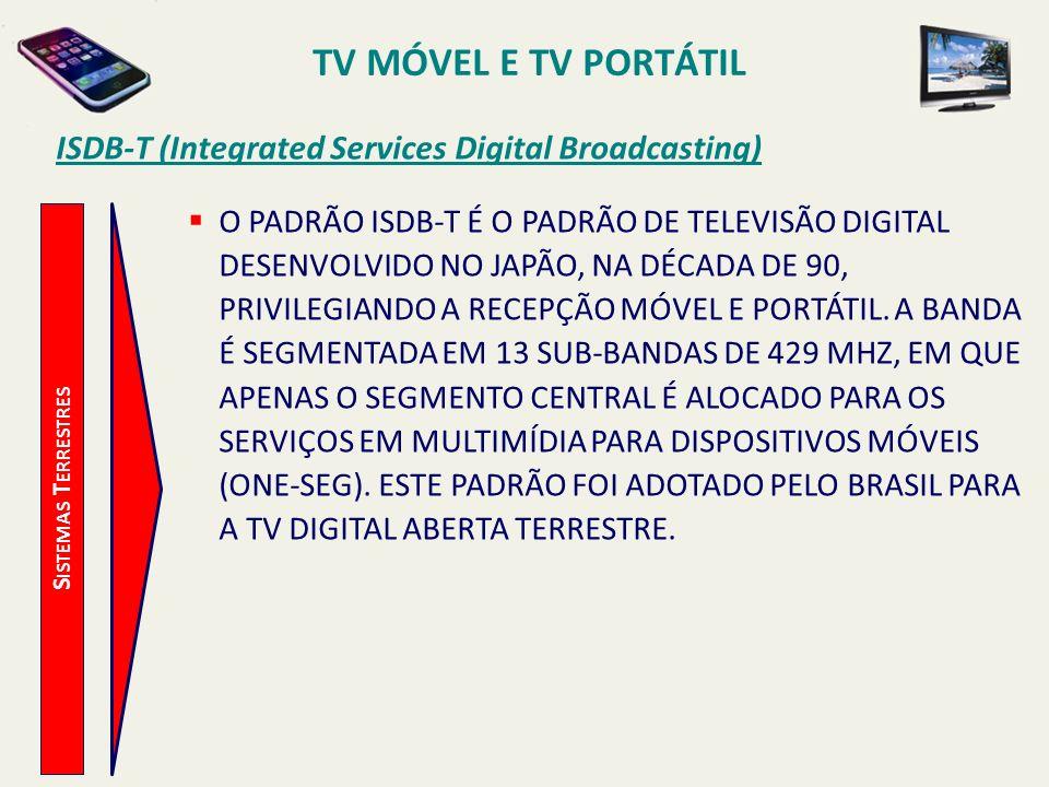 S ISTEMAS T ERRESTRES ISDB-T (Integrated Services Digital Broadcasting) O PADRÃO ISDB-T É O PADRÃO DE TELEVISÃO DIGITAL DESENVOLVIDO NO JAPÃO, NA DÉCADA DE 90, PRIVILEGIANDO A RECEPÇÃO MÓVEL E PORTÁTIL.