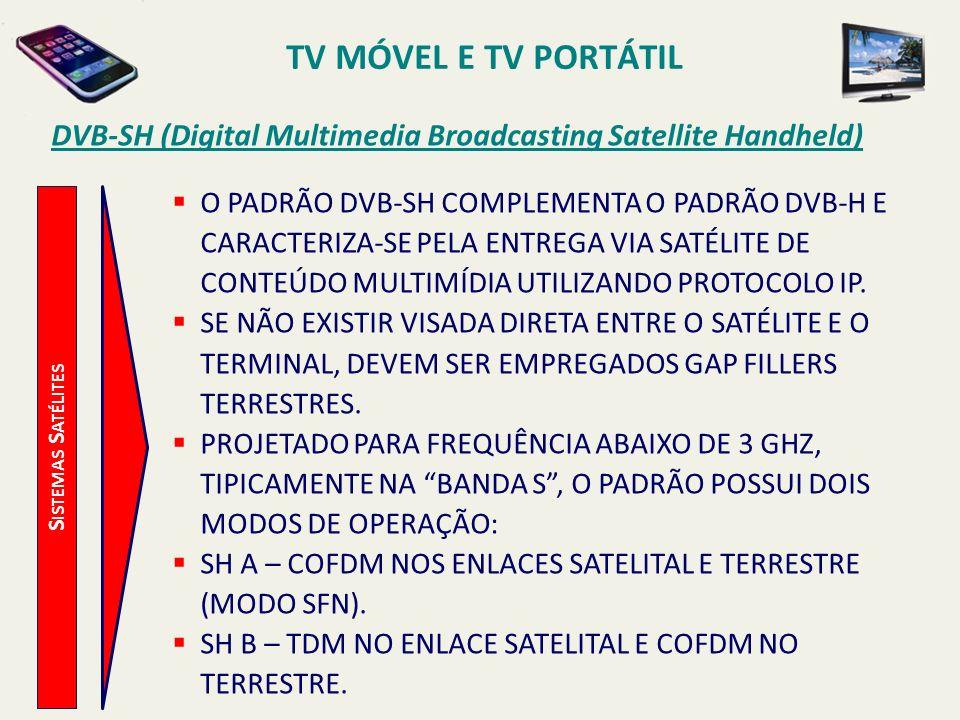 S ISTEMAS S ATÉLITES DVB-SH (Digital Multimedia Broadcasting Satellite Handheld) O PADRÃO DVB-SH COMPLEMENTA O PADRÃO DVB-H E CARACTERIZA-SE PELA ENTREGA VIA SATÉLITE DE CONTEÚDO MULTIMÍDIA UTILIZANDO PROTOCOLO IP.