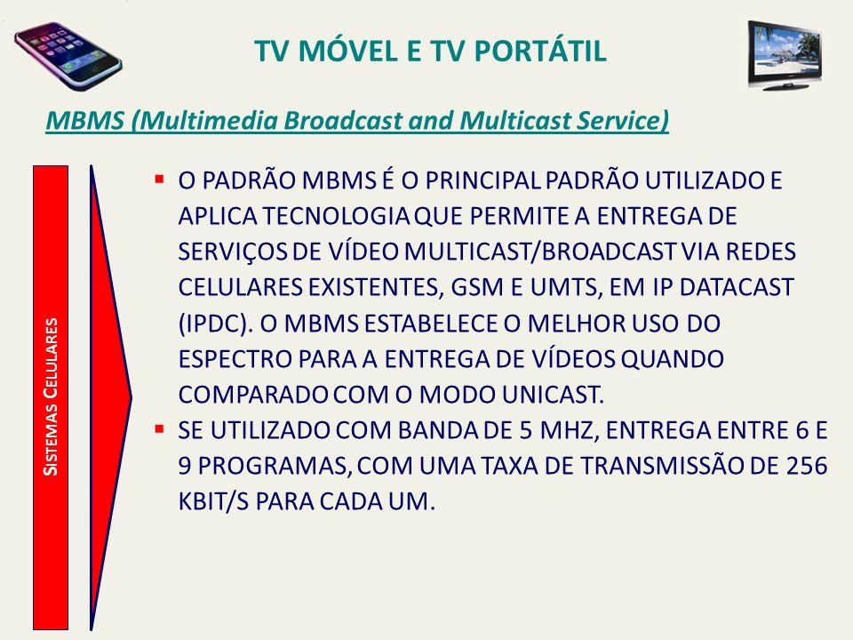 S ISTEMAS C ELULARES MBMS (Multimedia Broadcast and Multicast Service) O PADRÃO MBMS É O PRINCIPAL PADRÃO UTILIZADO E APLICA TECNOLOGIA QUE PERMITE A ENTREGA DE SERVIÇOS DE VÍDEO MULTICAST/BROADCAST VIA REDES CELULARES EXISTENTES, GSM E UMTS, EM IP DATACAST (IPDC).