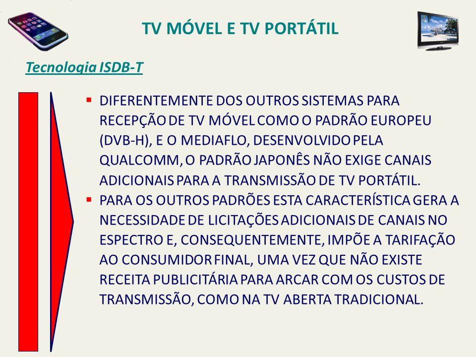 Tecnologia ISDB-T DIFERENTEMENTE DOS OUTROS SISTEMAS PARA RECEPÇÃO DE TV MÓVEL COMO O PADRÃO EUROPEU (DVB-H), E O MEDIAFLO, DESENVOLVIDO PELA QUALCOMM, O PADRÃO JAPONÊS NÃO EXIGE CANAIS ADICIONAIS PARA A TRANSMISSÃO DE TV PORTÁTIL.