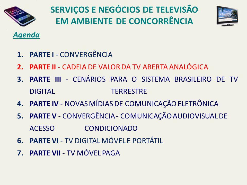 Agenda 1.PARTE I - CONVERGÊNCIA 2.PARTE II - CADEIA DE VALOR DA TV ABERTA ANALÓGICA 3.PARTE III - CENÁRIOS PARA O SISTEMA BRASILEIRO DE TV DIGITAL TERRESTRE 4.PARTE IV - NOVAS MÍDIAS DE COMUNICAÇÃO ELETRÔNICA 5.PARTE V - CONVERGÊNCIA - COMUNICAÇÃO AUDIOVISUAL DE ACESSO CONDICIONADO 6.PARTE VI - TV DIGITAL MÓVEL E PORTÁTIL 7.PARTE VII - TV MÓVEL PAGA SERVIÇOS E NEGÓCIOS DE TELEVISÃO EM AMBIENTE DE CONCORRÊNCIA