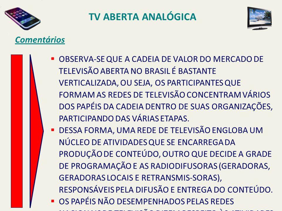 TV ABERTA ANALÓGICA Comentários OBSERVA-SE QUE A CADEIA DE VALOR DO MERCADO DE TELEVISÃO ABERTA NO BRASIL É BASTANTE VERTICALIZADA, OU SEJA, OS PARTICIPANTES QUE FORMAM AS REDES DE TELEVISÃO CONCENTRAM VÁRIOS DOS PAPÉIS DA CADEIA DENTRO DE SUAS ORGANIZAÇÕES, PARTICIPANDO DAS VÁRIAS ETAPAS.