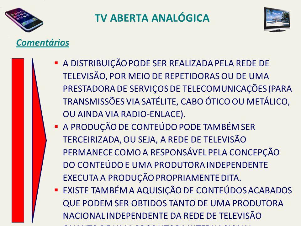 TV ABERTA ANALÓGICA Comentários A DISTRIBUIÇÃO PODE SER REALIZADA PELA REDE DE TELEVISÃO, POR MEIO DE REPETIDORAS OU DE UMA PRESTADORA DE SERVIÇOS DE TELECOMUNICAÇÕES (PARA TRANSMISSÕES VIA SATÉLITE, CABO ÓTICO OU METÁLICO, OU AINDA VIA RADIO-ENLACE).