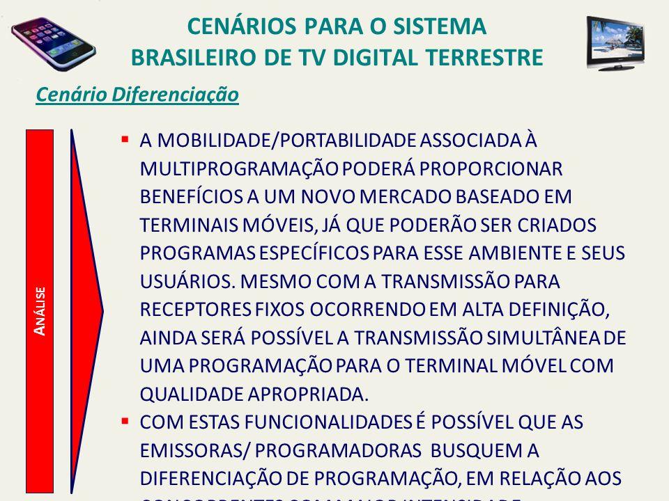 A NÁLISE Cenário Diferenciação A MOBILIDADE/PORTABILIDADE ASSOCIADA À MULTIPROGRAMAÇÃO PODERÁ PROPORCIONAR BENEFÍCIOS A UM NOVO MERCADO BASEADO EM TERMINAIS MÓVEIS, JÁ QUE PODERÃO SER CRIADOS PROGRAMAS ESPECÍFICOS PARA ESSE AMBIENTE E SEUS USUÁRIOS.