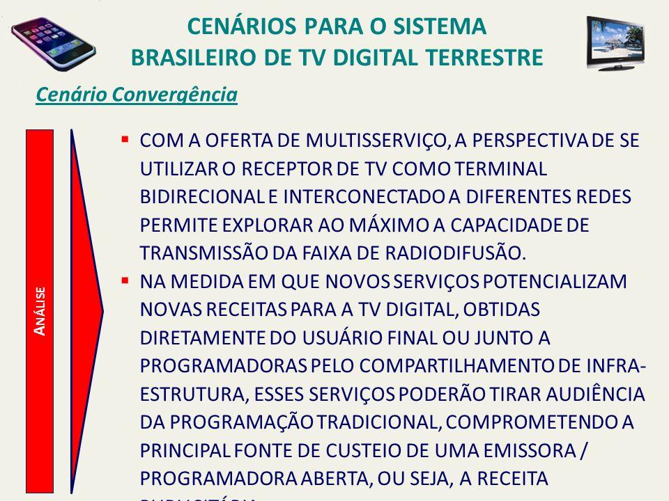 A NÁLISE Cenário Convergência COM A OFERTA DE MULTISSERVIÇO, A PERSPECTIVA DE SE UTILIZAR O RECEPTOR DE TV COMO TERMINAL BIDIRECIONAL E INTERCONECTADO A DIFERENTES REDES PERMITE EXPLORAR AO MÁXIMO A CAPACIDADE DE TRANSMISSÃO DA FAIXA DE RADIODIFUSÃO.