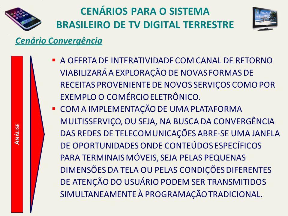 A NÁLISE Cenário Convergência A OFERTA DE INTERATIVIDADE COM CANAL DE RETORNO VIABILIZARÁ A EXPLORAÇÃO DE NOVAS FORMAS DE RECEITAS PROVENIENTE DE NOVOS SERVIÇOS COMO POR EXEMPLO O COMÉRCIO ELETRÔNICO.