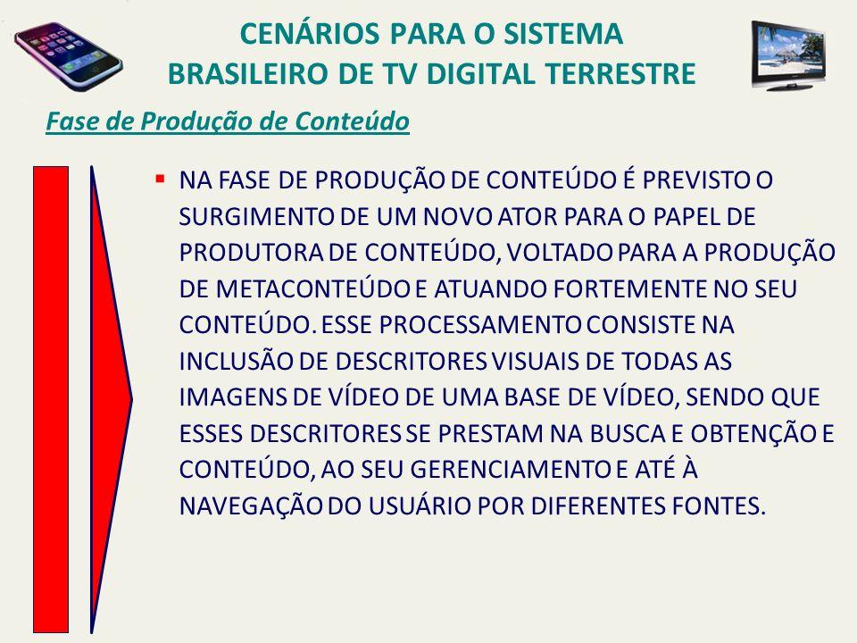 Fase de Produção de Conteúdo NA FASE DE PRODUÇÃO DE CONTEÚDO É PREVISTO O SURGIMENTO DE UM NOVO ATOR PARA O PAPEL DE PRODUTORA DE CONTEÚDO, VOLTADO PARA A PRODUÇÃO DE METACONTEÚDO E ATUANDO FORTEMENTE NO SEU CONTEÚDO.