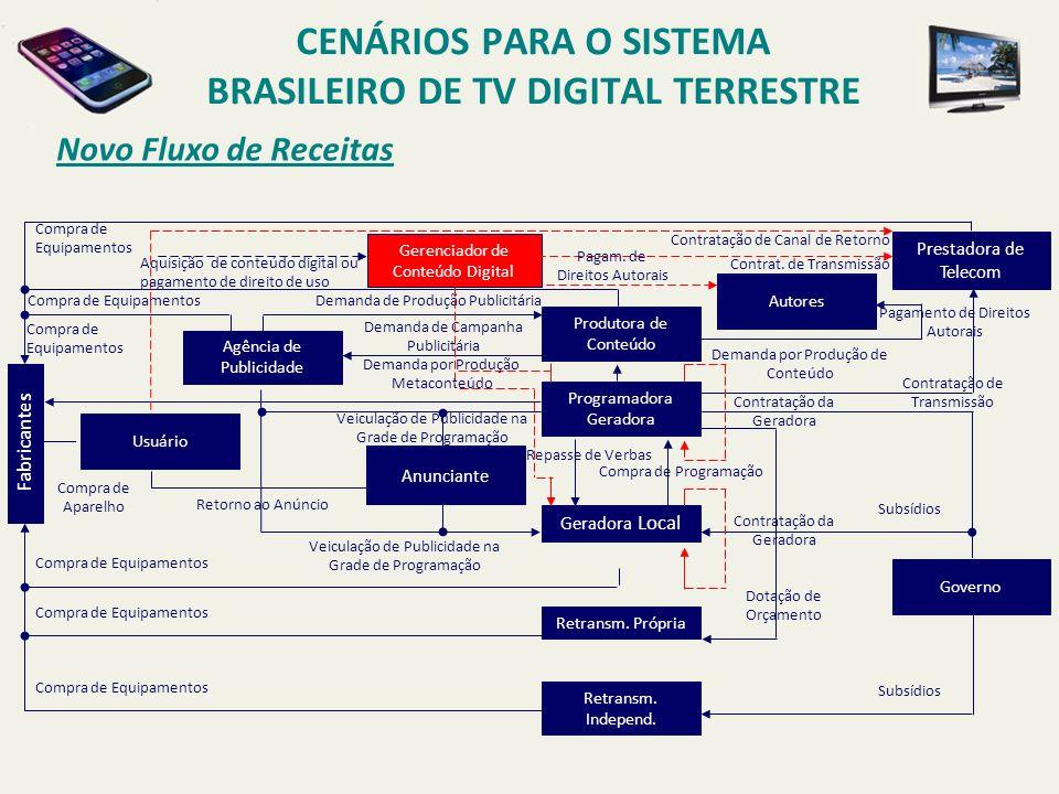 Novo Fluxo de Receitas CENÁRIOS PARA O SISTEMA BRASILEIRO DE TV DIGITAL TERRESTRE Produtora de Conteúdo Programadora Geradora Geradora Local Retransm.
