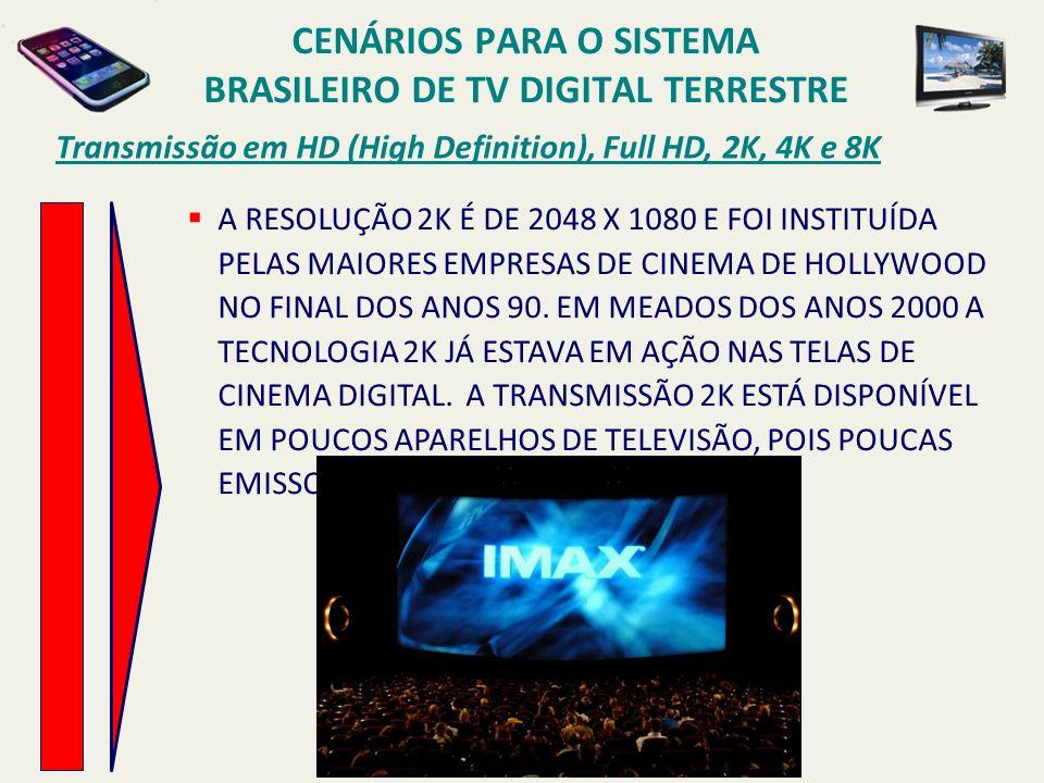 Transmissão em HD (High Definition), Full HD, 2K, 4K e 8K A RESOLUÇÃO 2K É DE 2048 X 1080 E FOI INSTITUÍDA PELAS MAIORES EMPRESAS DE CINEMA DE HOLLYWOOD NO FINAL DOS ANOS 90.