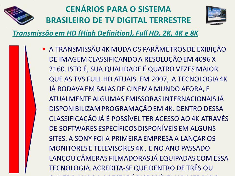 Transmissão em HD (High Definition), Full HD, 2K, 4K e 8K A TRANSMISSÃO 4K MUDA OS PARÂMETROS DE EXIBIÇÃO DE IMAGEM CLASSIFICANDO A RESOLUÇÃO EM 4096 X 2160.