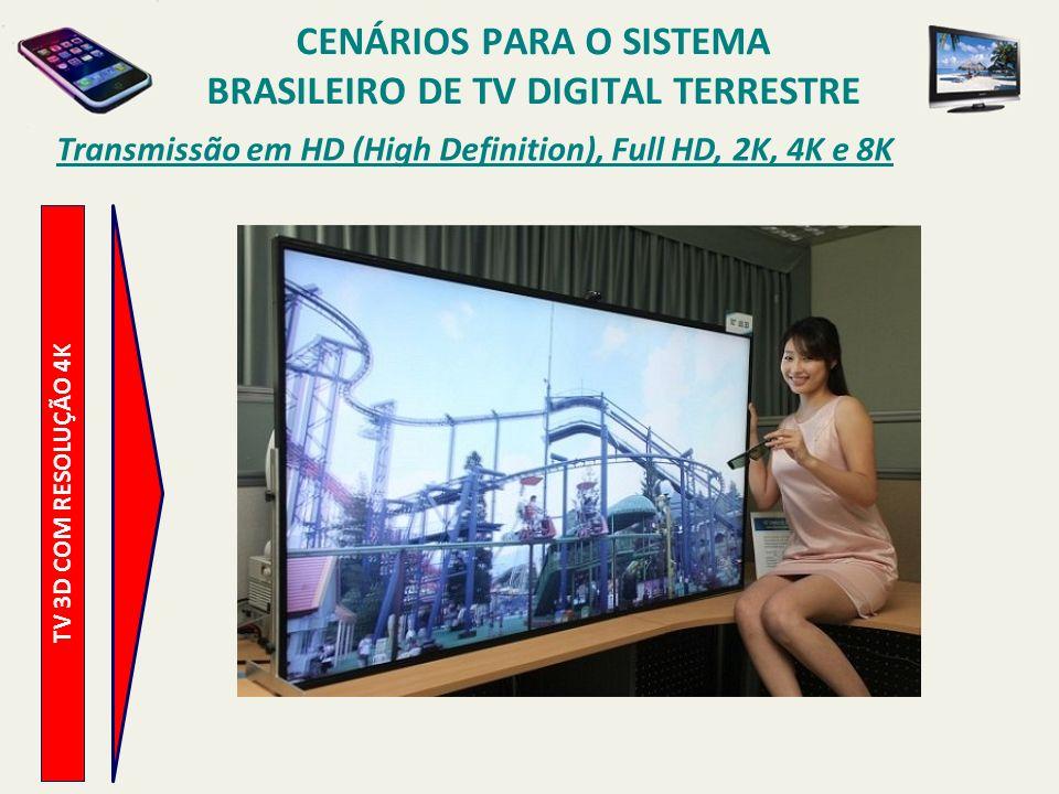 TV 3D COM RESOLUÇÃO 4K Transmissão em HD (High Definition), Full HD, 2K, 4K e 8K CENÁRIOS PARA O SISTEMA BRASILEIRO DE TV DIGITAL TERRESTRE
